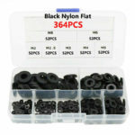364Pcs Nylon Rubber Flat Ring Plain Repair Washer Gasket For Metric M2~M8