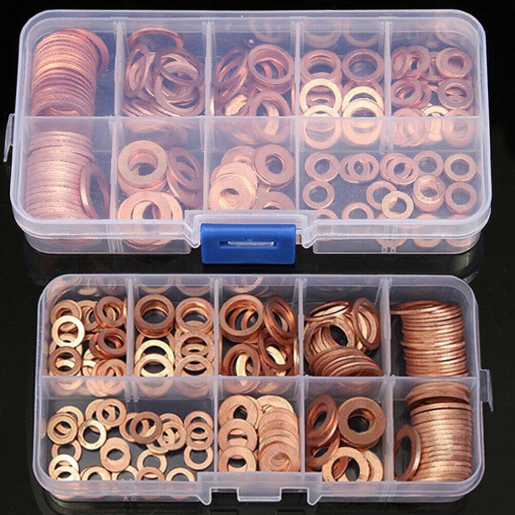 200pcs Copper Washer Gasket Set Flat Ring Seal Assortment Kit w/ Box M5-M14