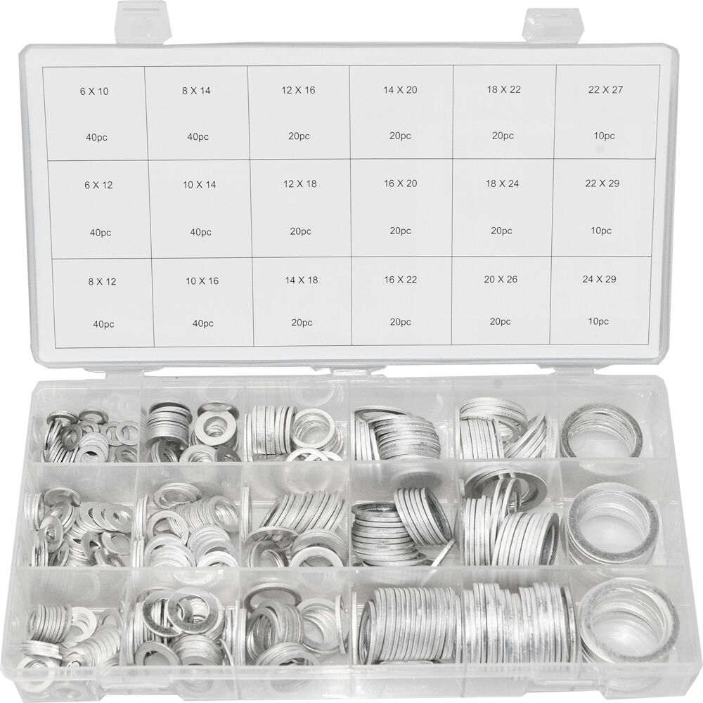 Swordfish 32411 - 450pc Oil Drain Plug Aluminum Washer Gasket Assortment