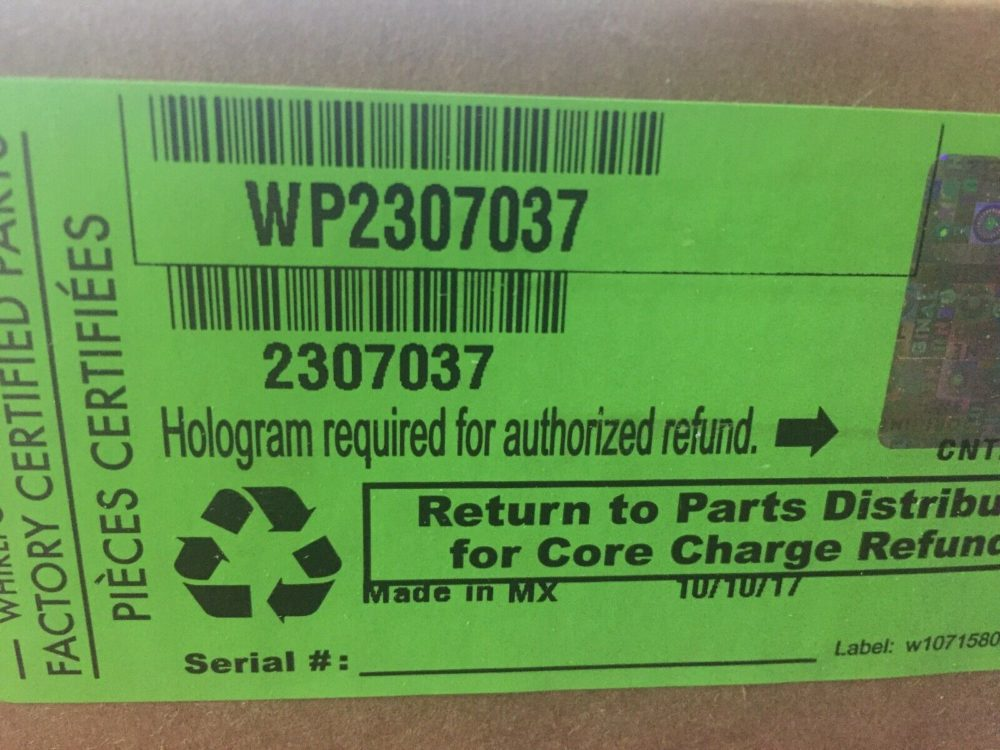 Whirlpool Refrigeration 2307037 / WP2307037. No open box